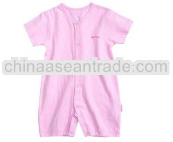 short sleeve cotton pink baby romper