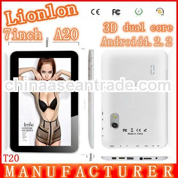 7 inch A20 android 4.2.2 1024*600 HD 1G DDR 8GB dual core Tablet PC