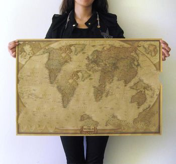 Mr Obama's choice!2013 Vintage Style  1Piec MAP Travel  Map Personalized World Map Poster 72.5*4